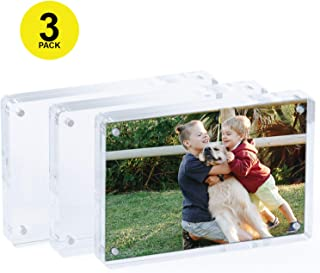 "Magnetic Acrylic Picture Frames With Rounded Corners 4.25x6.25"" - Perfect Frameless Picture Frame - Double Sided Picture Frame - Magnetic Acrylic Frame - Acrylic Block Frame DESKTOP ONLY 3pc.set"