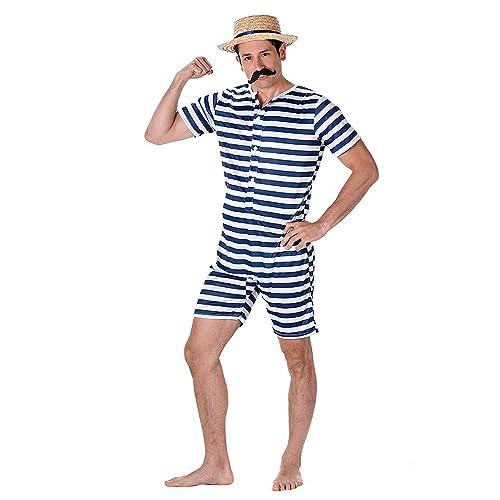 439ed09dfa Karnival 82100 Male Old Time Bathing Suit Costume, Men, Multi, Large