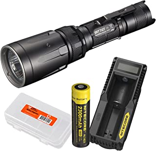 Nitecore Rechargeable Bundle SRT7GT 1000 Lumens Smart Ring Tactical Flashlight with Red/Blue/Green/UV LEDs - UM10 USB Charger Set and LumenTac Battery Organizer - SRT7 Upgrade