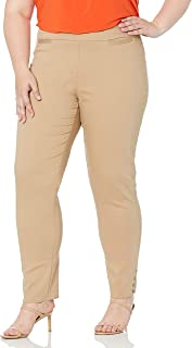 SLIM-SATION womens Wide Band Pull-on Solid Ankle Pant Pants