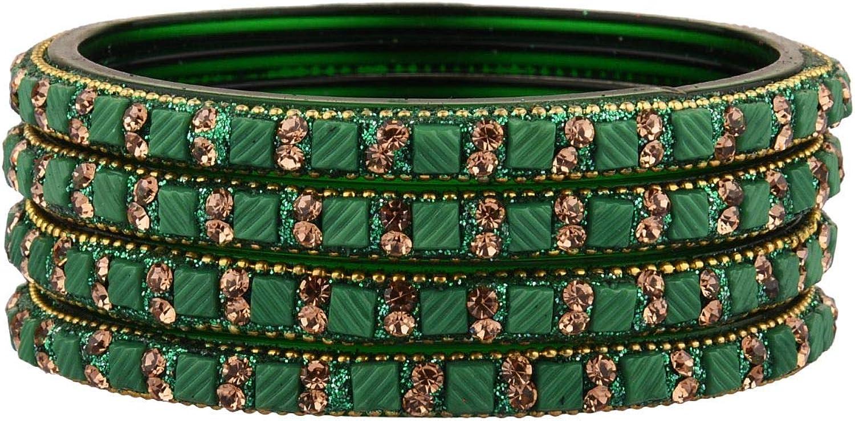 Efulgenz Indian Bangle Set Bollywood Style Rhinestone Crystal Acrylic Handmade Bracelet Jewelry Set