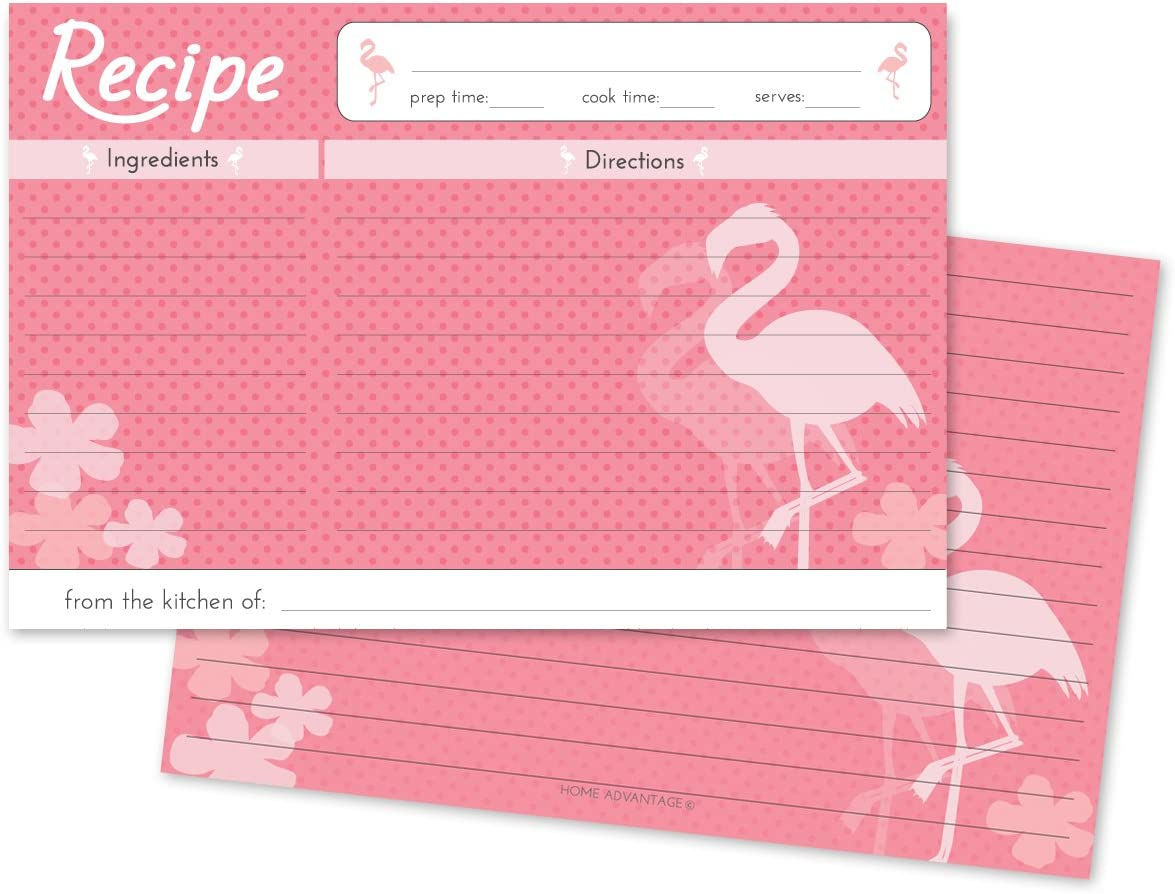 Home Advantage Pink Flamingo Design Set Double Sided Family 4x6 Recipe Cards, Set of 50
