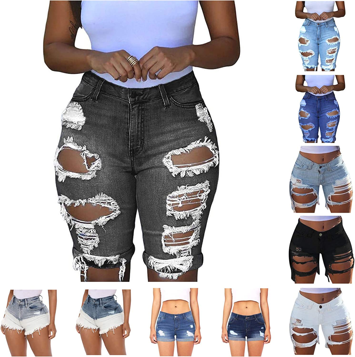 FIRERO Denim Shorts for Women Distressed Ripped Jeans Shorts Stretchy Frayed Raw Hem Hot Denim Shorts with Pockets