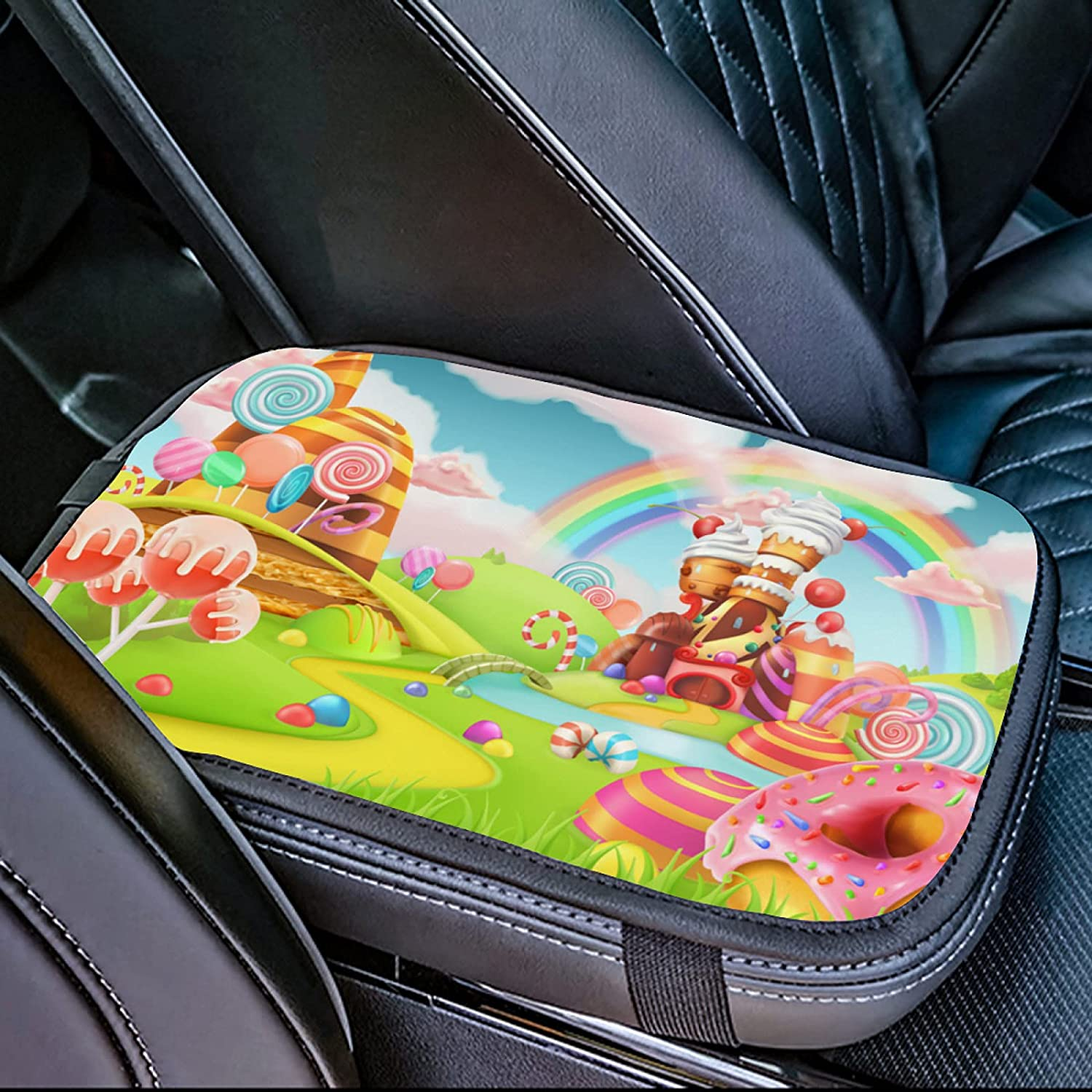 Sales gift OcuteO Car Center Console Cover Cartoon Sweet Land Castle Candy