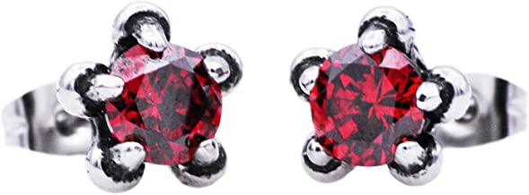 Mens Blackjack Stainless Steel Claw Earring With Cubic Zirconia