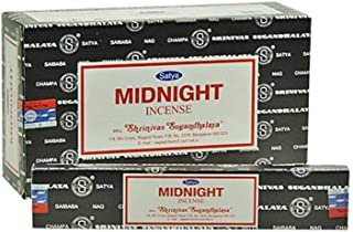 Satya Nag Champa Midnight Edition : Meditation Incense Sticks - Box 12 Packs by Satya