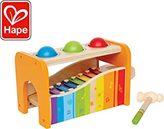 Hape Pound & Tap Bench with Slide Out Xylophone - Award Winning Durable Wooden Musical Pounding Toy for Toddlers, Multifunctional and Bright Colours