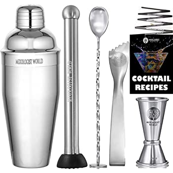 Mixology Cocktail Shaker with Recipes - 5 pieces Bartender Set 24 oz Bar Tool Kit Accessories - Stainless Steel Drink Mixer Built-in Strainer, Muddler, Mixing Spoon, Measuring Jigger, Ice Tong