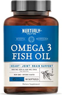 Omega 3 Fish Oil 2000mg, 800mg EPA and 600mg DHA – Enteric Coated and Burpless – Supports Joint, Brain, and Heart Health -...