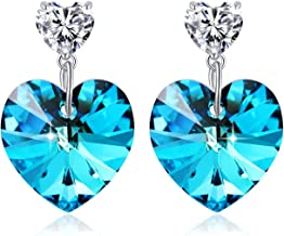 PLATO H Women Heart Drop Earrings with Crystal from Swarovski, Love Heart Dangle Earrings for Girls, Women Fashion Heart Jewellery, Birthday Gift for Girlfriend, Wife or Best Friends