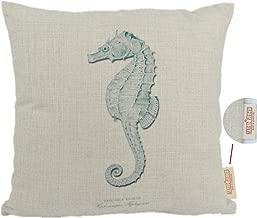 MagicPieces Cotton and Flax Ocean Park Theme Decorative Pillow Cover Case 18 x 18 Square Shape-ocean-beach-sea-print-blue-starfish-seahorse-Voyage (Seahorse)