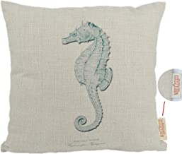 MagicPieces Cotton and Flax Ocean Park Theme Decorative Pillow Cover Case 18 x 18 Square Shape-ocean-beach-sea-print-blue-starfish-seahorse-Voyage (Seahorse)