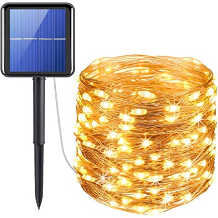 XERGY Solar Fairy String Lights Outdoor, 39 Ft 120 LED with 800 mAh Inbuilt Rechargeable Batter IP65 Waterproof 8 Modes Copper Wire for Garden Yard Patio Christmas Tree Home Party Outdoor Decorative