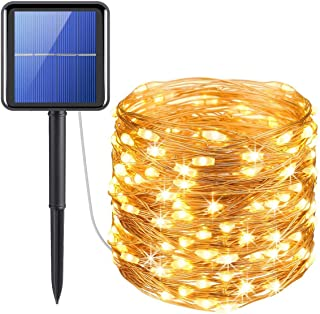 XERGY Solar Fairy String Lights Outdoor, 39 Ft 120 LED with 800 mAh Inbuilt Rechargeable Batter IP65 Waterproof 8 Modes Co...