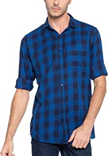 Nick & Jess Mens Blue Black Plaid Check Slim Fit Casual Flannel Shirt