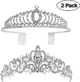 Tiaras and Crowns, Vofler 2 Pack Crystal Tiara Crown Headband Headpiece Rhinestone Hair Jewelry for Women Ladies Little Girls Bridal Bride Princess Queen Birthday Wedding Pageant Prom Party Sliver