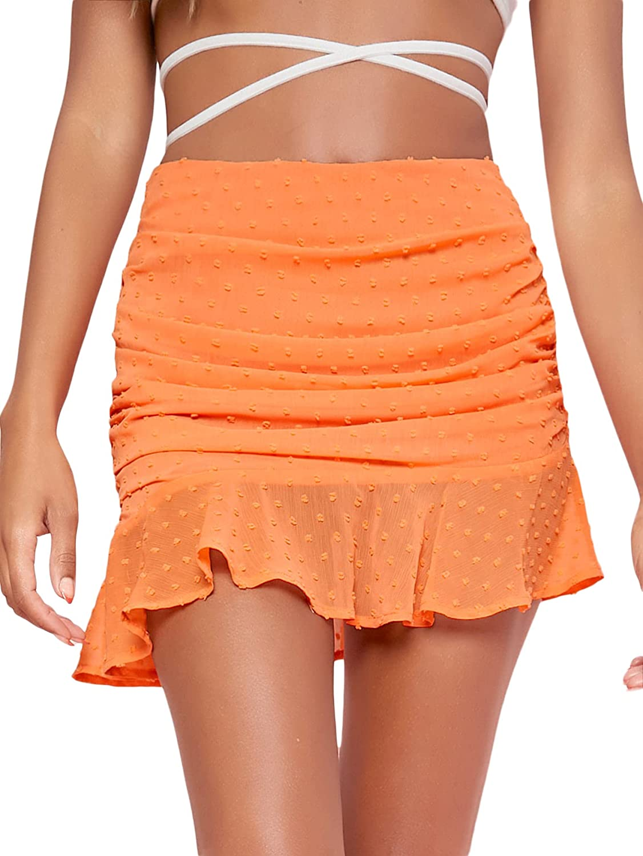 Milumia Women Swiss Dots Ruffle Hem Chiffon Skirt Ruched High Waist Mini Skirt