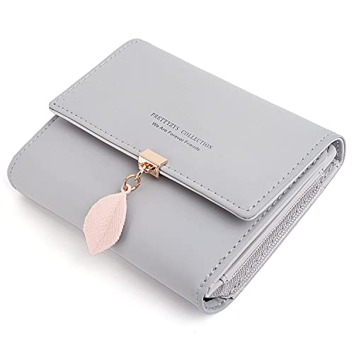 9af1d349afe5 UTO PU Leather Small Wallet for Women Leaf Pendant 5 Card Slots 1 ID Window  Card