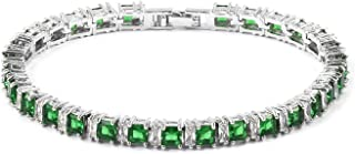 Eternity Bridal Tennis Bracelet for Women Square Red Cubic Zirconia CZ Classic Jewelry 7.5