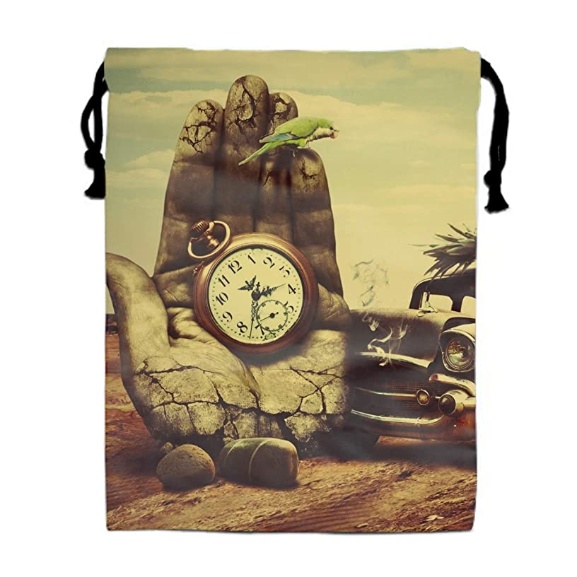Hand Car Clock Pineapple Cat Drawstring Backpack Bags Goody Bags Party Favor Bags Supplies for Boys and Girls