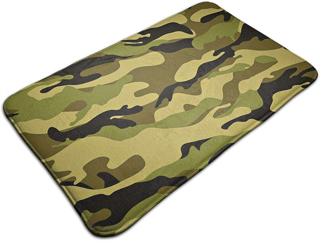 YOFFYO Anti Slip Memory Foam Tub Shower Bath Rug Army Camouflage 3D Camo Print Home Decor Shaggy Rugs Indoor Outdoor Entrance Mat Machine Washable Anti Fatigue Doormat For Hotel