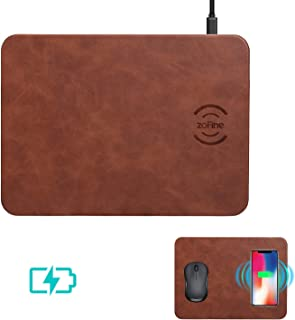Wireless Charging, ZOFINE Mouse Pad Wireless Charger 10W 2 in 1 Mat for Samsung Galaxy S9 S8 S7, 5W for iPhone X/XS/8/8 Plus Qi-Enabled Devices Brown