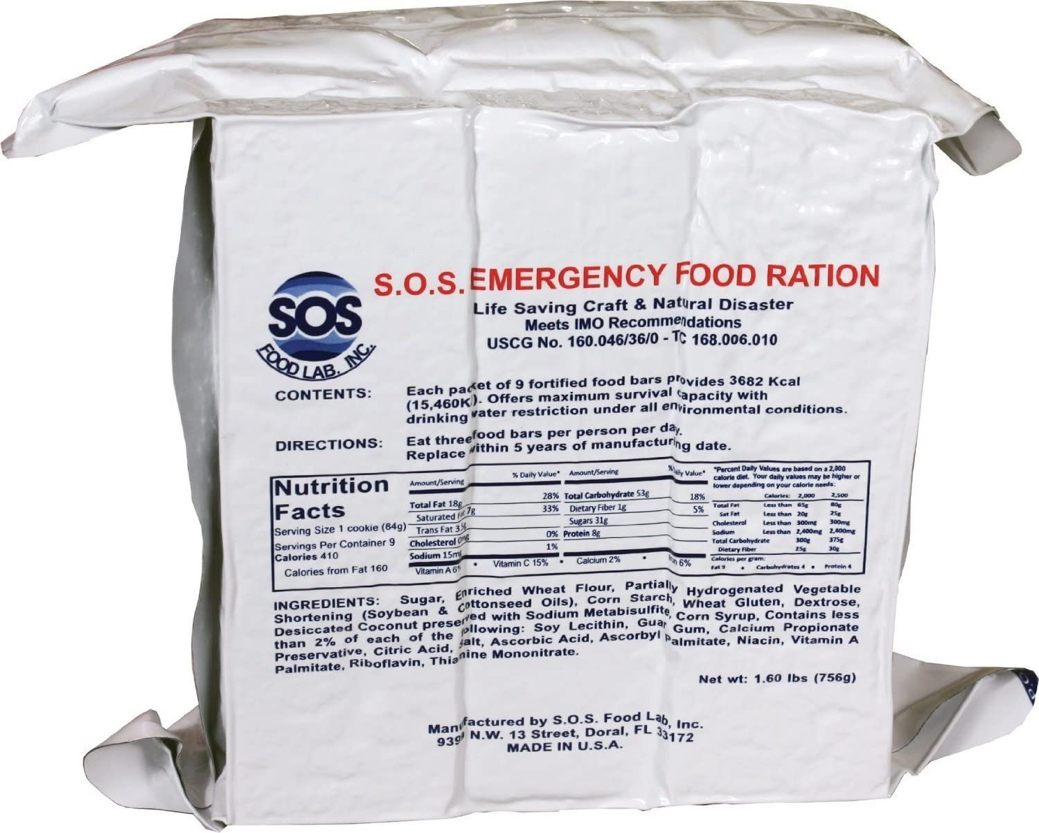 S.O.S. Rations 一部予約 Emergency 3600 Calorie Food - Bar 72 Hour 3 Day 本物