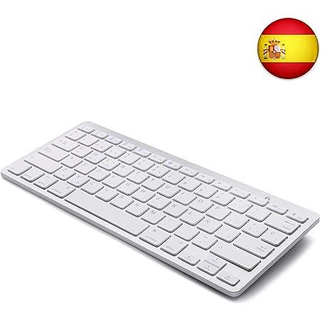Tableta Teclado Bluetooth, Boriyuan Teclado inalámbrico en español para Mac iPad iPhone iOS Android Windows Smart TV
