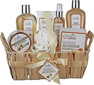 Spa Gift Basket with Honey Almond Fragrance, Includes Shower Gel, Bubble Bath, Body Lotion, Body Butter, and Much More, Great Birthday Anniversary or Chrsitmas Gift for Women and Girls