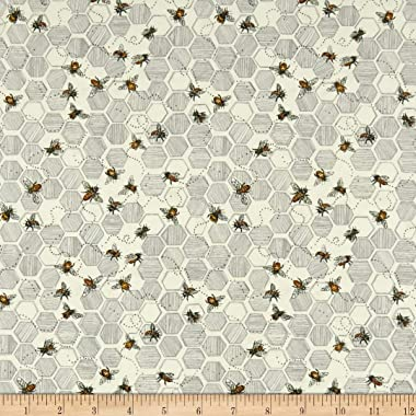 Fabri-Quilt Paintbrush Studio Bee Kind Bees & Honeycombs Fabric, Ecru, Fabric By The Yard