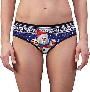 Kaerm Women Girls Novelty Funny Printing Briefs Low Waist Lace Trim Panties Underwear for Christmas