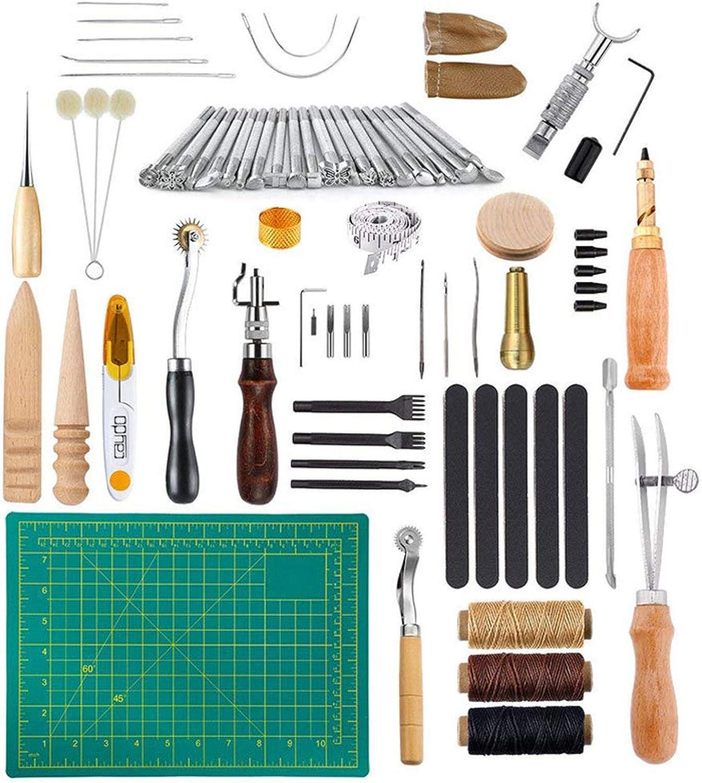 JasCherry 50 Piezas Kits de Herramientas para Coser Cuero a Mano de Costura - Practico DIY Set de Coser de Artesanía Cuero #4