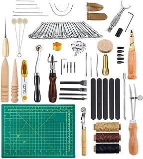 LaceDaisy 50 Pcs Kit Outils Cuir Outil de Bricolage Kit Couture DIY Artisanat Maroquinerie Poinçon Outillage Drilling Cuir...