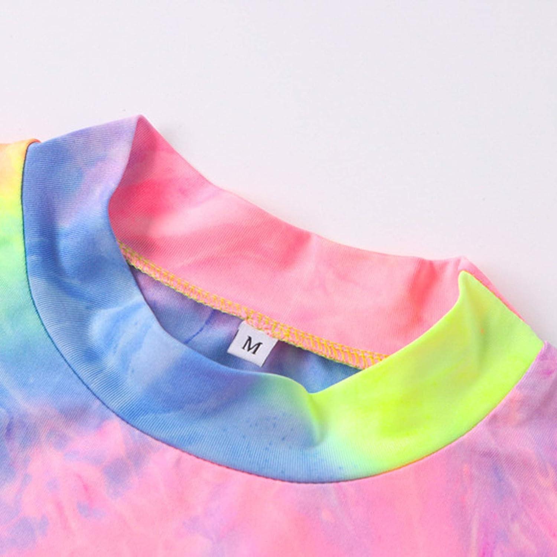 Doomiva Women Tie Dye Long Sleeve Bodysuit Summer Turtle Neck Tank Top Jumpsuit Beach Casual Party Leotard