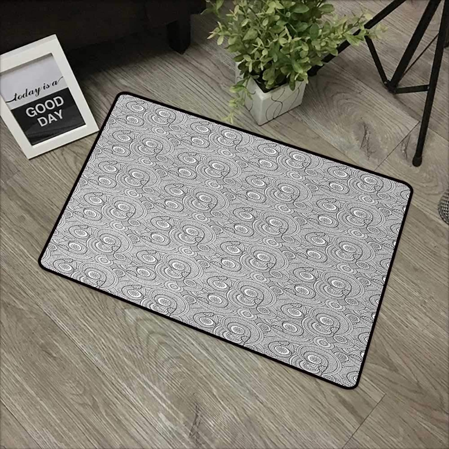 Door mat W35 x L59 INCH Black and White,Asian Ethnic Floral Pattern with Swirls and Mandala Inspired Henna Motifs,Black White with Non-Slip Backing Door Mat Carpet