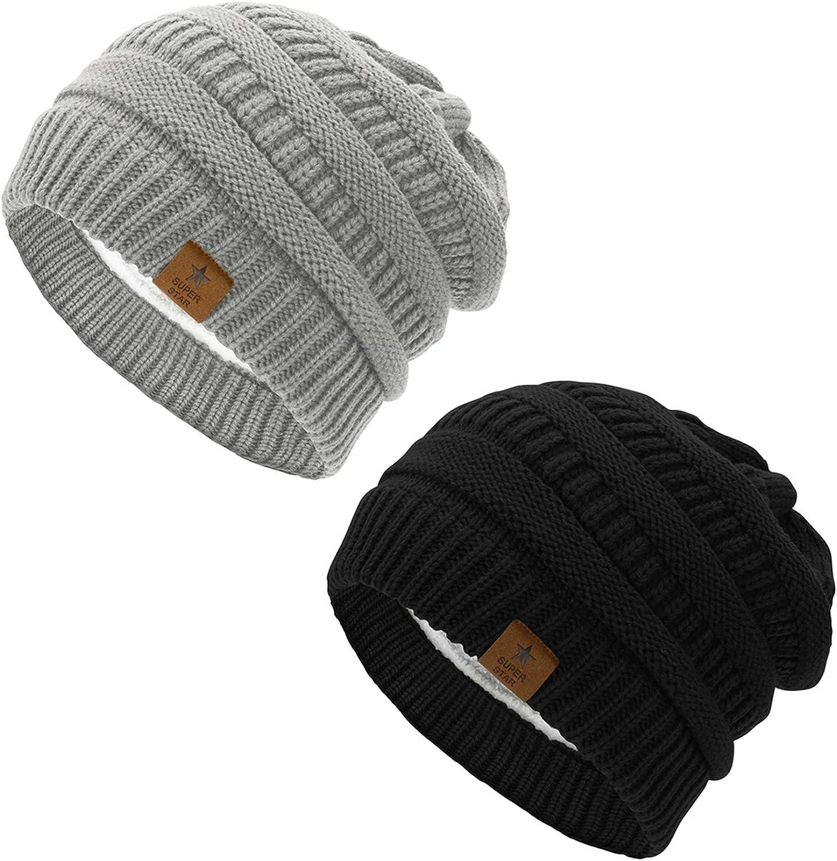 Zando Beanie Arlington Mall Hat for Women Winter Fleece Beauty products Li - Chunky Knit