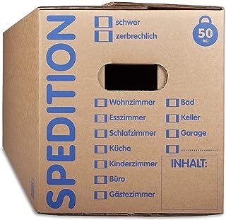 KK Verpackungen Umzugskartons mit 50KG Tragkraft | 10 Stück, 2-wellige Mehrweg-Umzugskisten in extrastabiler Speditionsqualität