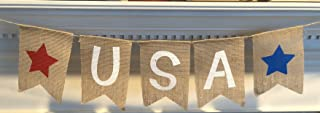 USA Burlap Patriotic Banner Bunting - 4th of July Party Decoration - Memorial Day Burlap Celebration Supplies - Honor Military Veterans Day Garland - by Jolly Jon ®