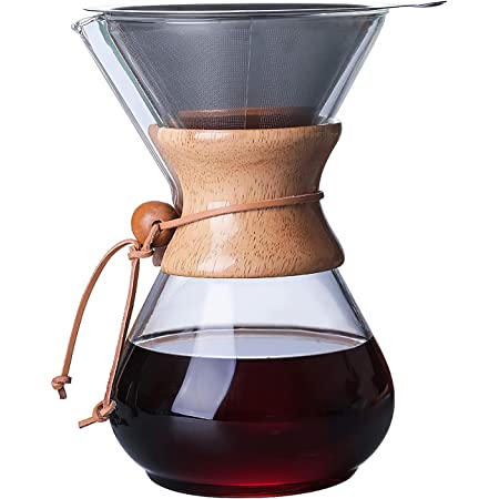 Pour Over Coffee Maker Set - Drip Glass Coffee Maker with Reusable 304 Stainless Steel Filter, 28 oz Classic Series