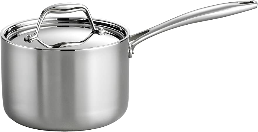 Tramontina 80116 022ds Gourmet Stainless Steel Induction Ready Tri Ply Clad Covered Sauce Pan 2 Quart Nsf Certified Made In Brazil Amazon Co Uk Kitchen Home