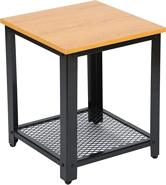 ORAF Side Table 2 Tier End Table Nightstand Coffee Table With Storage Shelf For Home Office Living Room Bedroom Orange
