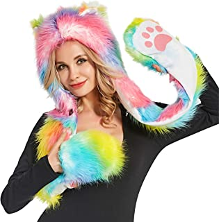 Rainbow Furry Wolf Hat Sexy Animal Hoodie Faux Fur Anime Ears Paws Hooded Scarf Gloves Top Hat For Adult Women Men Halloween Unicorn Costumes Christmas Rave Clothes Outfit
