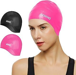 Aegend Unisex Swim Caps Cover Ears (2 Pack), Durable &...