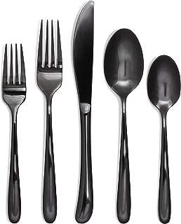 Craft & Kin Flatware Set, Hand-Forged Black Silverware Set, Classic Heirloom Luxury Black Flatware | Premium Quality Pure Stainless Steel Cutlery Set, Mirror Polished Dinnerware Set (20-pc, Set for 4)