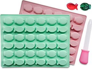 Fish Shaped Silicone Mold 2 Pack - BPA Free, LFGB/FDA Approved, Perfect for Homemade Gelatin Gummies, Candies, Chocolate, Ice Cubes, Bonus Dropper Included