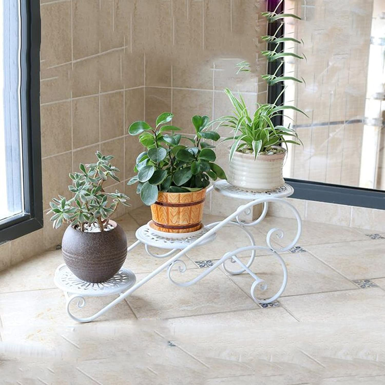 Wrought Iron Shelf Multi-Storey Indoor Space Balcony Decoration Living Room Pot Rack Fleshy Window Racks (color   White)