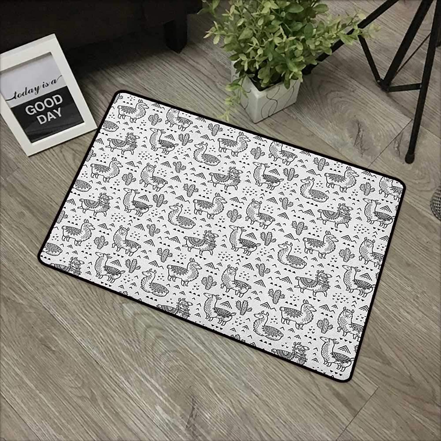 Hall mat W35 x L59 INCH Llama,Abstract Triangles with Doodle Style Alpacas in Monochrome Design Cartoon Pattern, Black White Non-Slip Door Mat Carpet