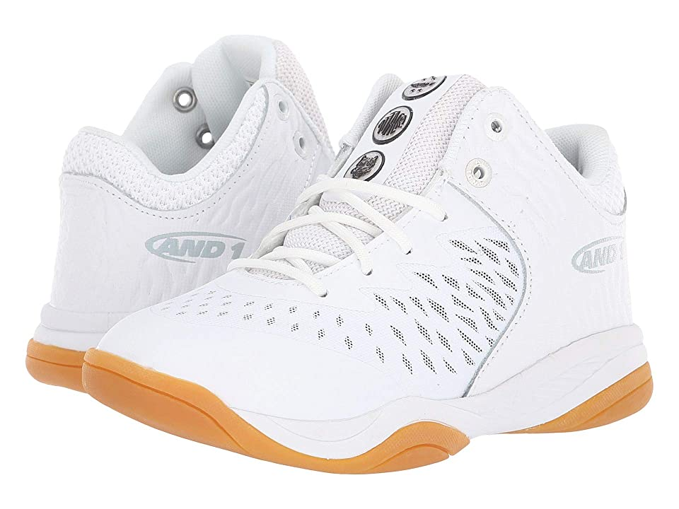 AND1 Kids Attack Mid (Little Kid/Big Kid) (White/Superfoil/Gum) Boys Shoes