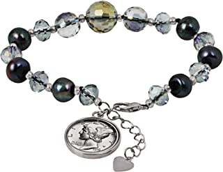 Silver Mercury Dime Cultured Fresh Grey Water Pearl Coin Bracelet