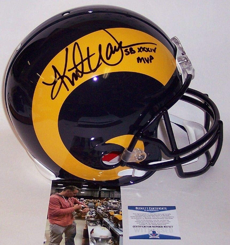 Kurt Warner Autographed Helmet  Throwback Full Size Authentic BAS Beckett  Beckett Authentication  Autographed NFL Helmets
